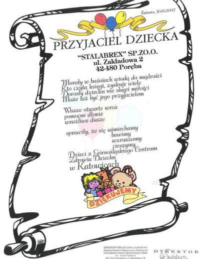 podziekowanie-przyjaciel-dziecka-katowice-2007